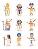 Sistema plano del vector de pharaohs y de reinas egipcios de la historieta Reglas de Egipto antiguo Caracteres de los hombres y d ilustración del vector