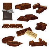 Sistema plano del vector de productos del chocolate Caramelos, pedazos de barras y haba del cacao por completo de semillas Comida libre illustration