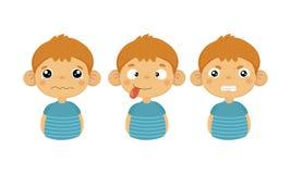Sistema plano del vector del niño pequeño lindo con diversas expresiones faciales Niño gritador, lengua hacia fuera y emoción eno libre illustration
