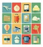 Sistema plano del viaje de los iconos Fotos de archivo