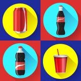 Sistema plano determinado del icono del vector de la botella de agua dulce Fotos de archivo libres de regalías