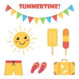 Sistema plano lindo y colorido del verano del diseño aislado en el fondo blanco Foto de archivo