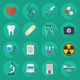 Sistema plano médico del icono Fotografía de archivo libre de regalías