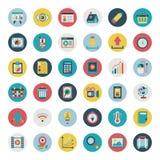 Sistema plano retro del icono del web Imágenes de archivo libres de regalías