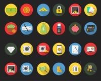 Sistema plano simple del icono de las finanzas stock de ilustración