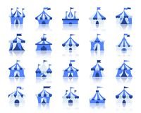 Sistema plano simple del vector de los iconos del color de la tienda de circo stock de ilustración