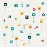 Sistema plano simplemente minimalistic del icono del símbolo de la comida y de la dieta. stock de ilustración