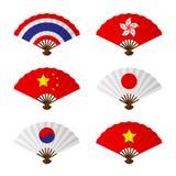 Sistema plegable del diseño de la bandera de Asia de la fan o de la fan de la mano ilustración del vector