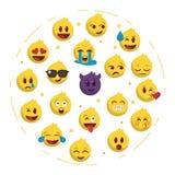 Sistema popular de la ronda del backgrund del emoji stock de ilustración
