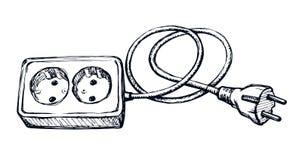 sistema portátil del hardware de la fuente del vatiaje 2 en el contexto blanco de la pared App exhausto del rosetón de la red del ilustración del vector