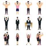 Sistema positivo del icono de la gente Presentación del positivo del culturista Positivo del hombre de negocios Positivo de la em Imagenes de archivo