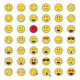 Sistema positivo y negativo de la cara sonriente amarilla de la gente de la emoción del icono stock de ilustración