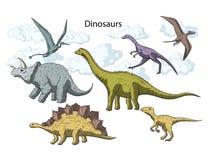 Sistema prehistórico del icono de Dino del vector stock de ilustración