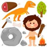 Sistema prehistórico del vector del hombre de las cavernas y del dinosaurio stock de ilustración