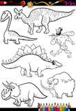 Sistema prehistórico para el libro de colorear Imagen de archivo libre de regalías