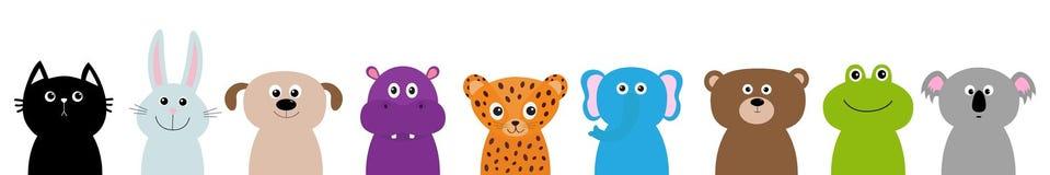 Sistema principal animal del cuerpo de la cara del parque zoológico Educación linda de los niños del bebé del personaje de dibujo stock de ilustración