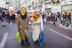 Sistema privado de la pensión de la protesta de los chilenos Foto de archivo