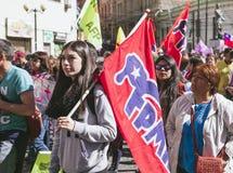 Sistema privado de la pensión de la protesta de los chilenos Fotografía de archivo libre de regalías