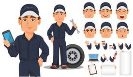 Sistema profesional de la creación del personaje de dibujos animados del mecánico de automóviles ilustración del vector