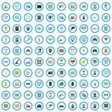 sistema programado de 100 iconos de las mercancías, estilo plano libre illustration