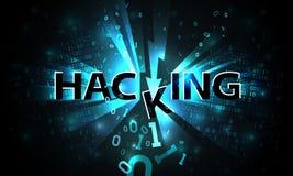 Sistema que corta abstracto, ataque del pirata informático, código binario descendente quebrado, fondo de la matriz con los dígit stock de ilustración