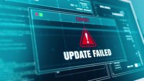 Sistema que pone al día alarma fallada actualización del mensaje de advertencia del progreso en la pantalla stock de ilustración