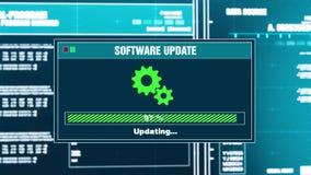 96 Sistema que pone al día alarma fallada actualización del mensaje de advertencia del progreso en la pantalla ilustración del vector