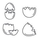 Sistema quebrado de los iconos de la cáscara de huevo, estilo del esquema libre illustration
