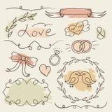 Sistema rústico de la boda Elementos dibujados mano del vector Marcos románticos del bosquejo con el fondo colorido del chapoteo Imagen de archivo