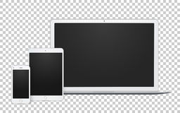 Sistema realista de artilugios, de ordenador portátil abierto, de plantilla del teléfono y de mofa del cojín para arriba con la p libre illustration