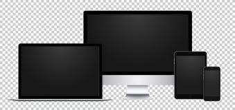 Sistema realista de la exhibición, del ordenador portátil, de la tableta y del teléfono negros con la pantalla vacía en fondo tra Imagen de archivo libre de regalías