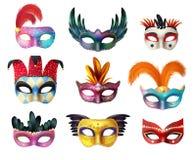 Sistema realista de las mascarillas del carnaval de la mascarada ilustración del vector