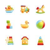 Sistema realista del icono de los primeros juguetes del bebé stock de ilustración