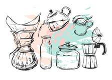 Sistema realista dibujado mano del gráfico de vector con el fabricante de café de los elementos del diseño del café, tetera, taza Foto de archivo