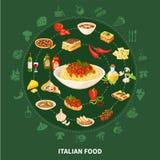 Sistema redondo de la cocina italiana Fotografía de archivo libre de regalías