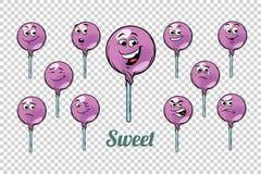 Sistema redondo de la colección de los caracteres de las emociones del caramelo de la piruleta stock de ilustración