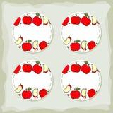 Sistema redondo de la etiqueta engomada de las manzanas rojas Imagen de archivo libre de regalías