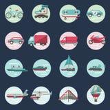 Sistema redondo de los iconos del transporte Fotos de archivo libres de regalías