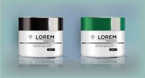 Sistema redondo del blanco, tarro plástico con la tapa negra y verde para los cosméticos stock de ilustración