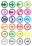 Sistema redondo del icono del vector de la flecha aislado en blanco Imagen de archivo libre de regalías