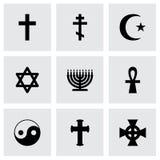 Sistema religioso del icono de los símbolos del vector Fotografía de archivo