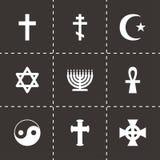 Sistema religioso del icono de los símbolos del vector Imágenes de archivo libres de regalías