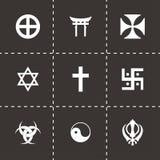 Sistema religioso del icono de los símbolos del vector Foto de archivo
