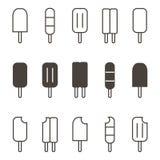 Sistema resumido monocromo del icono del vector del helado, colección en el fondo blanco Imágenes de archivo libres de regalías