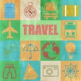Sistema retro colorido del vintage del viaje Imagen de archivo libre de regalías