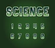 Sistema retro de la fuente de la ciencia ficción de los años 80 verdes con las letras interiores de las estrellas Alph Imagen de archivo libre de regalías