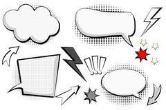 Sistema retro de la historieta, bosquejo del discurso Burbujas cómicas del discurso El diálogo vacío se nubla en estilo del arte  ilustración del vector