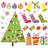 Sistema retro de la Navidad Imagen de archivo libre de regalías