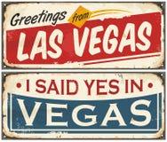 Sistema retro del diseño de la muestra de la lata de Las Vegas Imagen de archivo