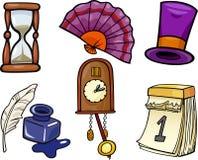 Sistema retro del ejemplo de la historieta de los objetos stock de ilustración
